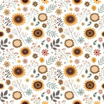 Seamless pattern with sunflowers and plants