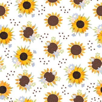 向日葵无缝图案