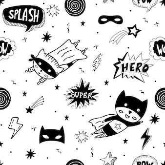 Seamless pattern with superhero character