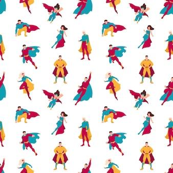 슈퍼 히어로 또는 슈퍼 파워를 가진 남자와 여자와 원활한 패턴입니다. 흰색 바탕에 슈퍼맨과 슈퍼우먼이 있는 배경. 포장지, 섬유 인쇄에 대 한 평면 만화 벡터 일러스트 레이 션.