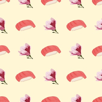 Seamless pattern with sushi and cherry blossom for summer