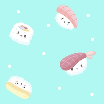 Seamless pattern with sushi illustration in cartoon style