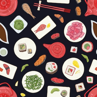 Seamless pattern with sushi, sashimi and rolls on black background. elegant backdrop with traditional japanese restaurant meals. realistic hand drawn illustration for wrapping paper, wallpaper.