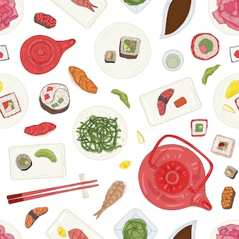 Seamless pattern with sushi, sashimi, rolls on plates and ingredients on white background.