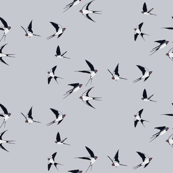 Seamless pattern with swallow birds
