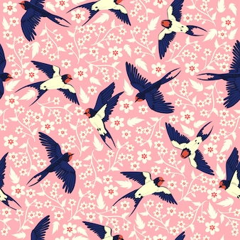 Seamless pattern with swallows and flowers.  graphics.