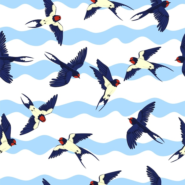Seamless pattern with swallows on a wavy background.