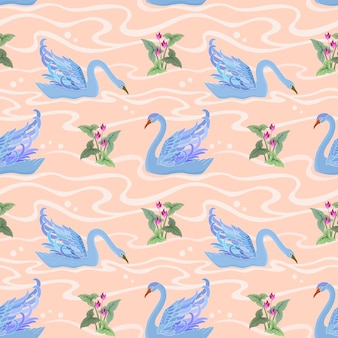 Seamless pattern with swan.   vector illustration.