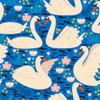 Бесшовный фон с лебедями на пруду.