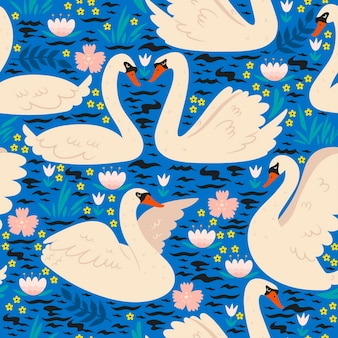 Seamless pattern with swans on the pond.
