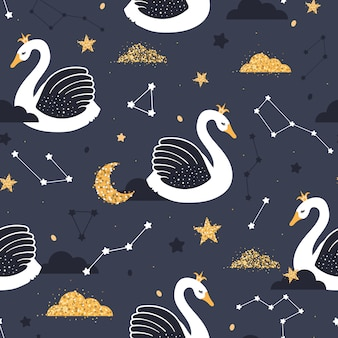 Seamless pattern with swans in the starry sky