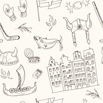 Seamless pattern with sweden elements .