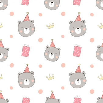 Бесшовный фон с головой сладкого медведя в шляпе партии