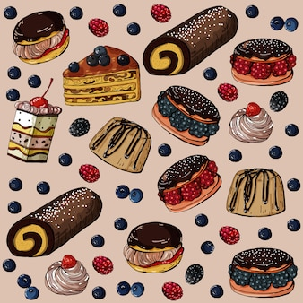 Seamless pattern with sweet cakes and berries