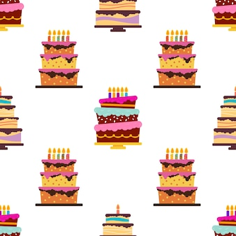 Seamless pattern with sweet cakes and pies. vector illustration.