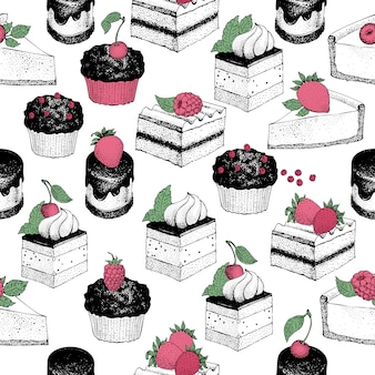 Seamless pattern with sweet desserts.