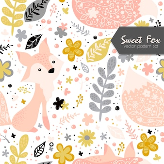 Seamless pattern with sweet fox