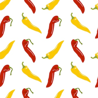 Seamless pattern with sweet red and yellow peppers bell pepper stock vector illustration isolated