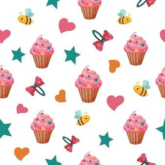 Seamless pattern with sweets and bees.