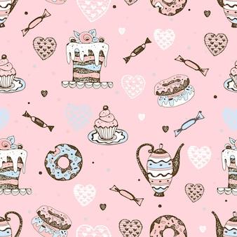 Бесшовный фон со сладостями, тортами и пирожными. вектор.
