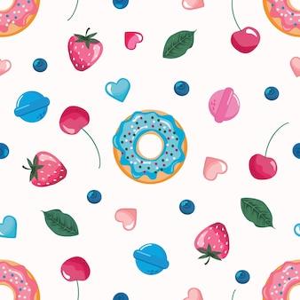 お菓子とのシームレスなパターン。ガーリーかわいい背景。