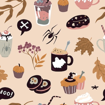 Seamless pattern with sweets for halloween vector illustration paper and textile design