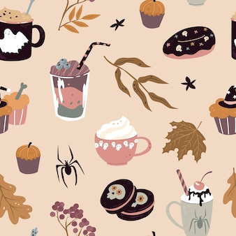 Seamless pattern with sweets for halloween vector illustration