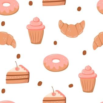 お菓子とのシームレスなパターン-アイスクリーム、ドーナツ、カップケーキ、チョコレートバー、キャンディー。