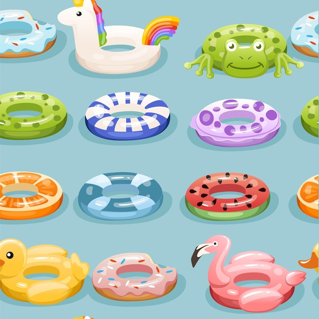 Seamless pattern with swim rings, inflatable rubber toy.