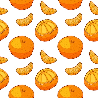 Seamless pattern with tangerine and slices. hand drawn wallpaper.