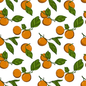 Seamless pattern with tangerines on branches with leaves