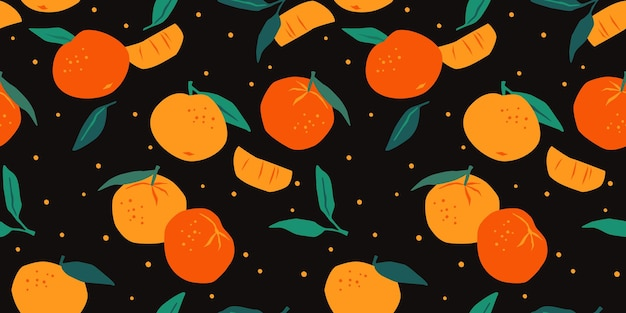 Seamless pattern with tangerines and oranges