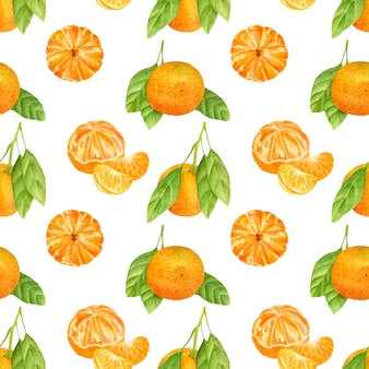 Seamless pattern with tangerines