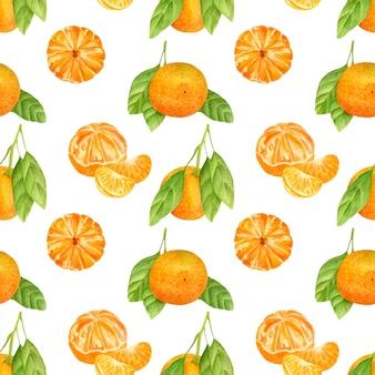 Бесшовный фон с мандаринами