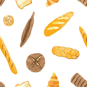 Seamless pattern with tasty breads, dessert pastry, baked products or bakery goods of different types on white. colorful illustration for fabric print, backdrop, wrapping paper