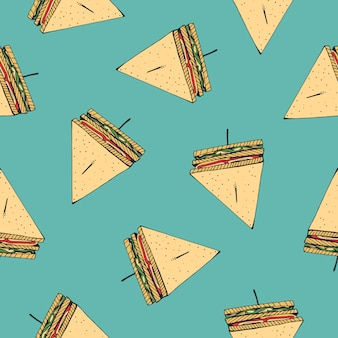 Seamless pattern with tasty club sandwiches pierced with cocktail stick on blue background.