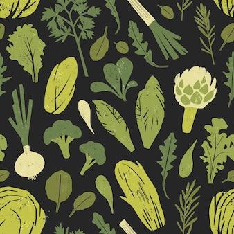Бесшовный фон с вкусными зелеными растениями, листьями салата и пряными травами