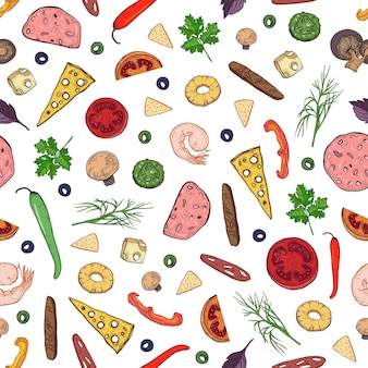Seamless pattern with tasty ingredients or toppings for italian pizza