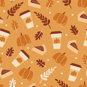 맛있는 호박 파이와 재미있는 매운 커피와 함께 매끄러운 패턴입니다. 할로윈 디저트 세트입니다. 장식 메뉴, 직물, 포장 및 섬유에 대한 그림