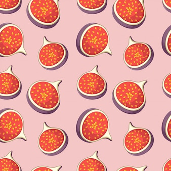 Seamless pattern with tasty slices of figs