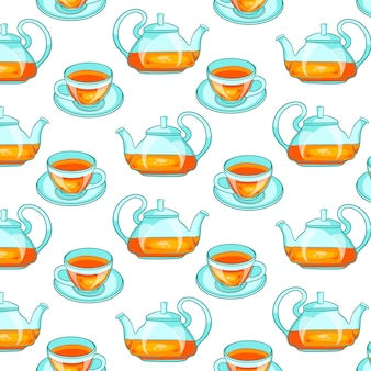 Seamless pattern with tea. in a cartoon style. for design and decoration.