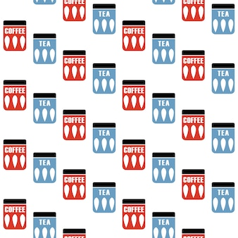 Seamless pattern with tea and coffee pots.