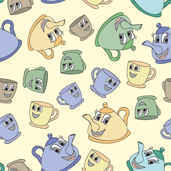 Seamless pattern with tea pots and tea cups - vector illustration