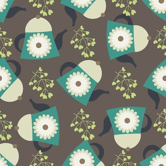 Seamless pattern with teapots and floral elements