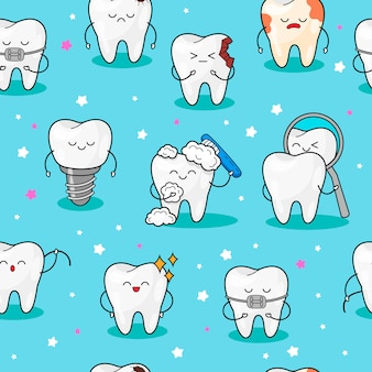 Seamless pattern with teeth.