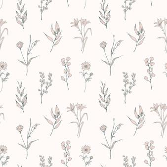 白い背景に描かれた柔らかい花が咲くシームレスなパターン