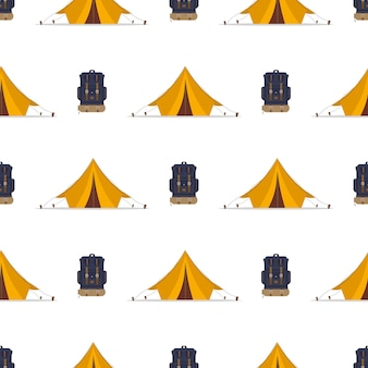 Бесшовный фон с палаткой и рюкзаком.