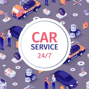 Seamless pattern with text for car repair service