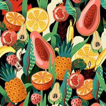 織り目加工の抽象的なエキゾチックなフルーツとのシームレスなパターン。