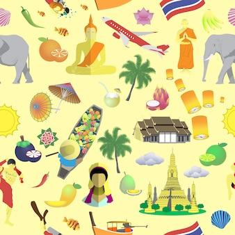 Бесшовный фон с тайскими символами, достопримечательностями и фруктами. фон